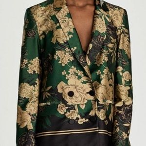 Zara Floral Print Double Breasted Blazer